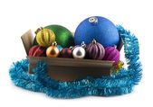 New-year decorations in a box — Stock Photo