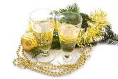 Glasses with christmas decorations — Stock Photo