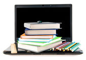 Computer, books and pencils — Stock Photo