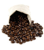 Sack with grains of coffee — Stock Photo