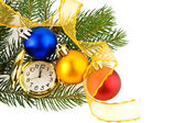 Clock and christmas ornaments — Stock Photo
