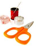 Meter and scissors — Stock Photo