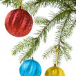 Fir-tree and balls — Stockfoto