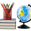 Books, pencils and globe — 图库照片