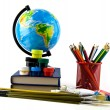 Books, pencils and globe — Stock Photo