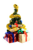 Gifts and christmas decorations — Stock Photo