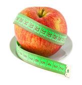 Elma ve ölçer — Stok fotoğraf