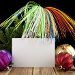Business card and new-year decorations — Stock Photo