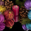 Candle and Christmas ornament — Stock Photo #40663677