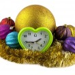 New-year decorations and clock — Stock Photo #40663837