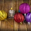 Stock Photo: New-year decorations and candle