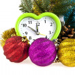 New-year decorations and clock — Stock Photo #40664699