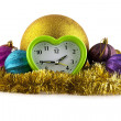 New-year decorations and clock — Stock Photo #40665663