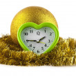 New-year decorations and clock — Stock Photo