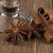 Stock Photo: Glass and star anise.