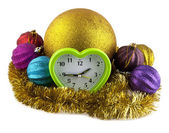 New-year decorations and clock — Foto Stock