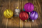 New-year decorations and candle — Stock Photo