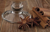 Glass and star anise. — Stock Photo