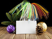 Branch of fir-tree and business card — Stockfoto