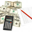 Dollars and calculator — Stock Photo