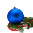 Branch of fir-tree and ball — Stock Photo