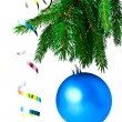 Blue ball on the Christmas tree — Stock Photo