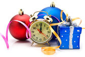 Christmas toys with a clock — Stock Photo