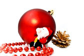 Red ball with santa — Stock Photo