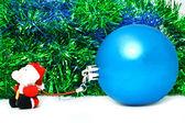Blue ball with santa — Stock Photo