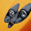 Stock Photo: Headlight of orange supercar