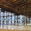 The Brighton Pier seen from underneath — Stock Photo