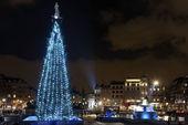 Vánoční strom na trafalgar square, london — Stock fotografie