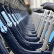 Barclays bicycles in London — Foto de Stock