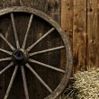 Vintage wooden carriage wheel — Stock Photo #19266979