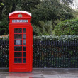 Traditional red telephone box in London - Stock Photo
