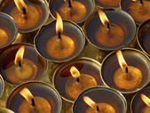 Butter lamps in a monastery — Stock Photo