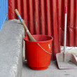 Red plastic bucket — Foto Stock