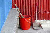 Red plastic bucket — Stock Photo