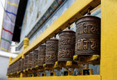 Prayer wheels at Bodhnath stupa in Kathmandu — Stockfoto