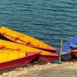 Colorful barques on Phewa Lake in Pokara — Foto Stock