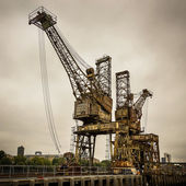 Rusty cranes at Battersea power station — Stock Photo