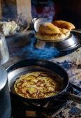 Apple pancake and Gurung breads — Stock Photo