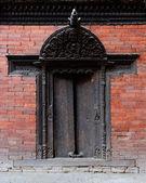 Traditional door in Kathmandu — Stock Photo