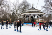 Ice rink at Winter Wonderland in London — Foto Stock