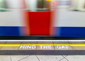Mind the gap warning — Stock Photo