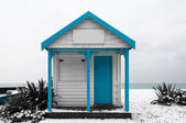 White and blue shed — Stock Photo