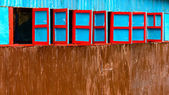 Red and blue wooden windows — Stock Photo