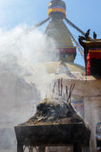 Encense burning at Boudhanath — Stock Photo
