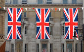 Three Union Jack flags — Foto de Stock