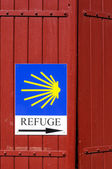 Refuge sign on the camino de Santiago — Stock Photo